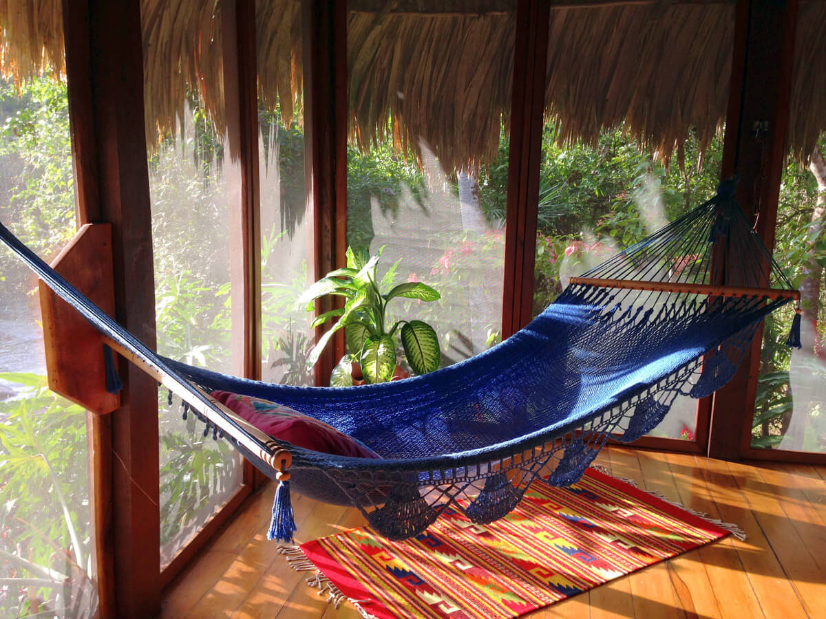 hammock on screened porch off of bedroom